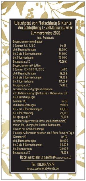 Weinhotel Kienle Zimmerpreisliste